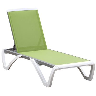 Outsunny Portable Outdoor Chaise Patio Lounge Chair, with 5-Level Adjustable Back Wheels Breathable Texteline, Green