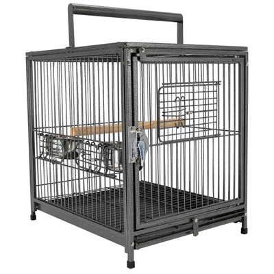 """PawHut 22"""" Bird Carrier Cage Parrot Macaw Travel Cage Portable Elevated Aviary House with Feeding Bowls"""