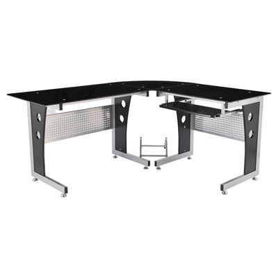 "HOMCOM 64"" Modern L-Shaped Glass Top Office Workstation Computer Desk PC Table"