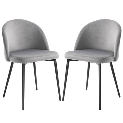 HOMCOM Set of 2 Modern Dining Chairs, Mid-Back Velvet-touch Upholstery Side Chair Table Chair for Living Room Dining Room, Grey
