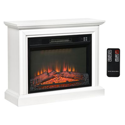 """HOMCOM 31"""" Electric Fireplace with Dimmable Flame Effect and Mantel, Freestanding Heater Corner Firebox with Log Hearth and Remote Control, 1400W, White"""