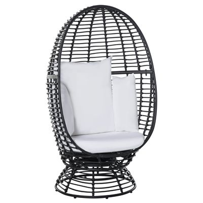 Outsunny Outdoor Round PE Ratttan Wicker 360 Degree Swivel Basket Egg Chair with Cushion,  Black