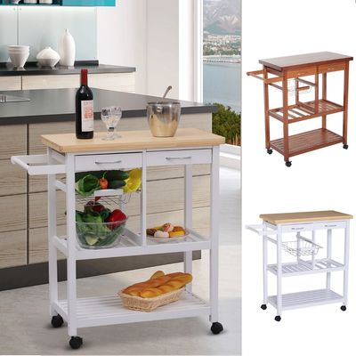 HOMCOM Wooden Kitchen Trolley Cart Basket Drawer Dining Storage w/Roller Holder