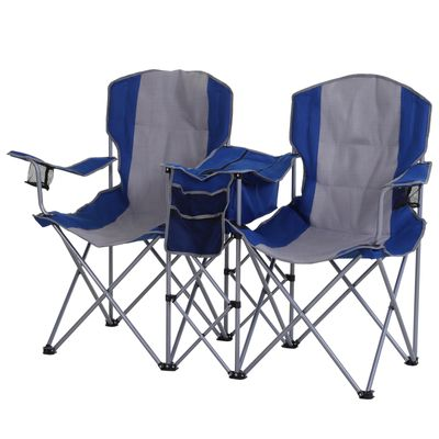 Outsunny 2 Person Folding Camping Chair Oxford Metal Fishing w/ Ice Bag  Cup Holder Blue