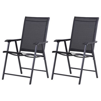 Outsunny Set of 2 Foldable Texteline Garden Chairs Steel Frame Outdoor Patio Park Convenient Seat Yard Furniture Black