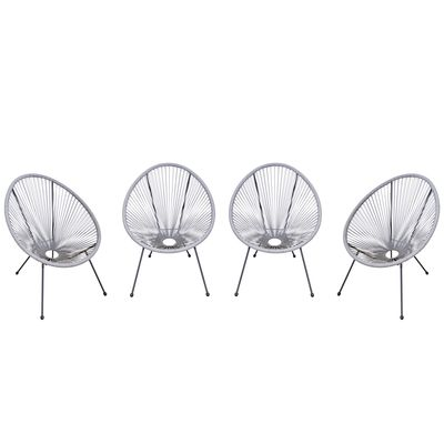 Outsunny 4-Piece Outdoor Patio Conversation Furniture Set All-Weather PE Rattan Wicker Oval Chair Sets - Light Grey
