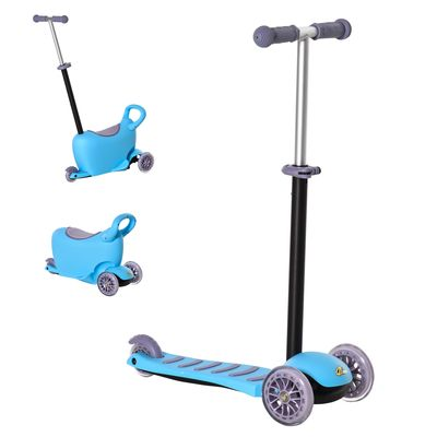 Qaba 3-in-1 Kids Scooter Sliding Walker Push Car 3 Wheels Height Adjustable with Removable Storage Seat Ride on Toy for 2-6 years Light Blue