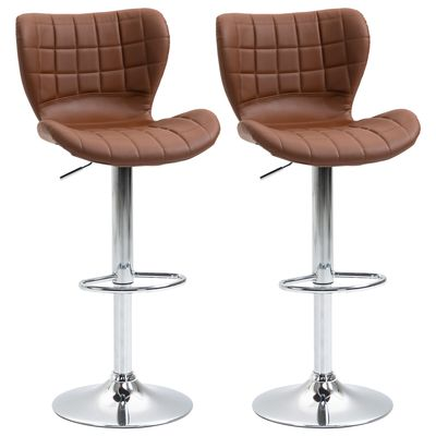 HOMCOM Set of 2 Counter Height Bar Stools Swivel Stool Height Adjustable Bar Chairs with Footrest for Kitchen Dining Home Pub, Brown