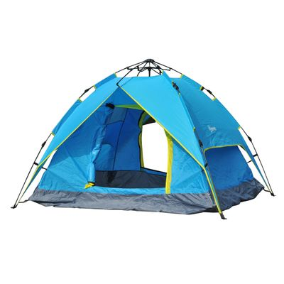 Outsunny 3-4 Person Double Layer Family Camping Hiking Instant Tent Auto Blue