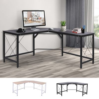 HOMCOM L-Shaped Computer Desk Office Wood Corner PC Workstation Large Gaming Desk Home Office Table