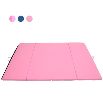 Soozier 3.8ftx5.9ftx2inch PU Leather Gymnastics Tumbling Gym Mat Arts Folding Yoga Exercise Pad 4 Panel Pink