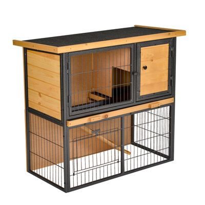 """PawHut Wood-metal Rabbit Hutch Elevated Pet House Bunny Cage Small Animal Habitat with Slide-out Tray Asphalt Openable Roof Lockable Door Water-resistant for Outdoor 35.25"""" x 17.75"""" x 32"""" Light Yellow"""