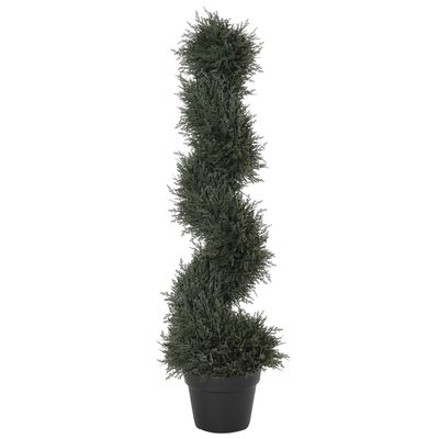 "Outsunny 35.5"" Topiary Trees Artificial Faux Fakes Spiral Plant Green Cedar Tree Indoor Outdoor Decor with Nursery Pot"