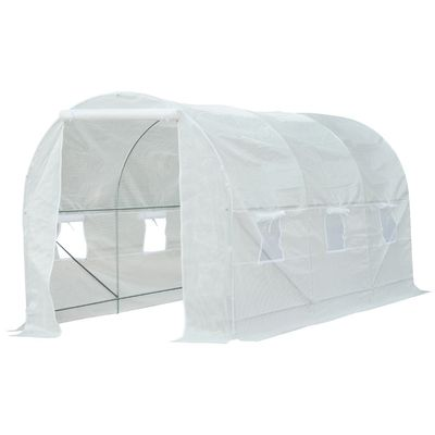 Outsunny 14.8'L x 6.6'W x 6.6'H Walk-in Tunnel Greenhouse Plant Growing House Portable White