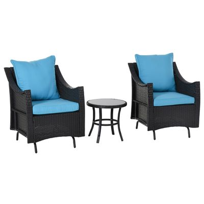 Outsunny 3Pcs Rattan Glider Chairs Set Patio Conversation Furniture w/ Tempered Glass Table and Cushion  Blue
