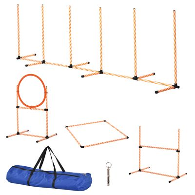 PawHut 4PC Portable Pet Agility Training Set Hurdle for Dog Obstacle Exercise with Adjustable Height Jump Ring High Jumper Weave Poles Square Pause Box Carry Bag Whistle Orange and White