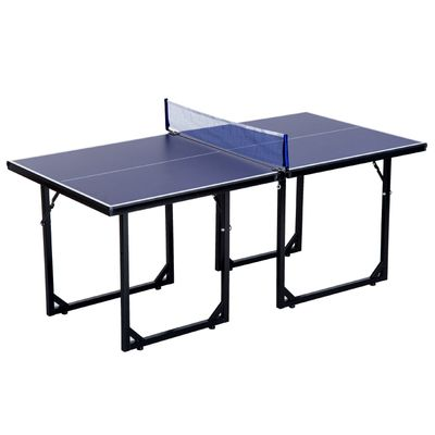 Soozier 6x3ft Compact Midsize Ping Pong Table Table Tennis Table Free Standing Folding Blue