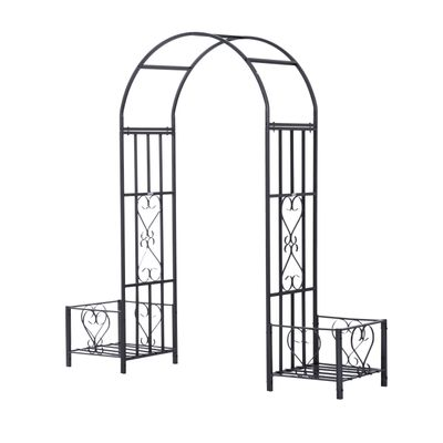 Outsunny 6.8ft Decorative Metal Garden Arch with 2 Planter Boxes Outdoor Walkway Arbor for Climbing Vine Plants Patio Backyard Lawn Party Ceremony