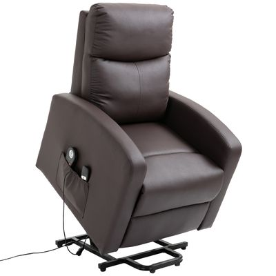 HOMCOM 8- Point Massage Sofa Electric Power  Lift Recliner Over Padded PU Leather W/ Remote Controllers