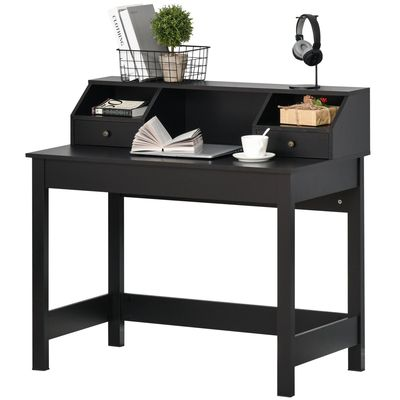 HOMCOM Rectangle Computer Desk with Display Shelves  Drawers Home Office Table Workstation  Black Wood Grain
