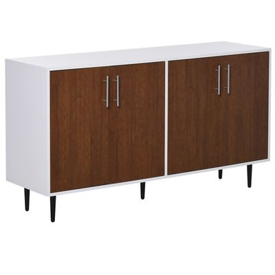 HOMCOM Modern Buffet Sideboard Kitchen Dining Storage Bar Cabinet with Adjustable Shelves  Brown