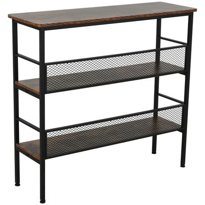 HOMCOM 3-Layer Brackets Industrial Storage Rack Bookshelf Metal and Wood Multi-role Spacious