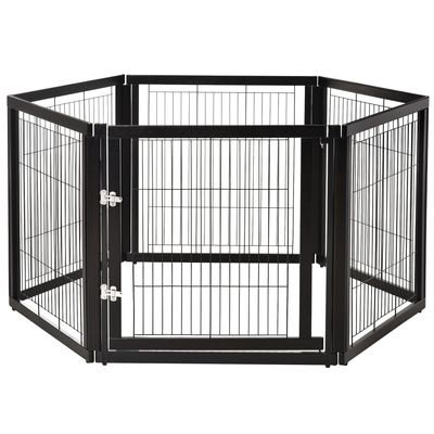 PawHut Transformable Pet Playpen 6 Freestanding Panels Gate Fireplace Christmas Tree Fence Stair Barrier Room Divider with Walk Through Door Wooden Frame Metal Mesh Black 63'' x 54.5'' x 31.5''