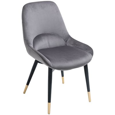 HOMCOM Mid-Century Upholstered Dining Chair Velvet-Touch Fabric Tufted Accent Chair with Metal Legs for Kitchen