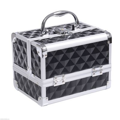 HOMCOM 3 Tier Makeup Train Case Cosmetic Jewelry Box Diamond Texture Aluminum