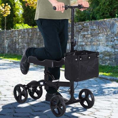 HOMCOM Knee Walker w/ Basket Safety Lock Crutch Alternative PU Seat Rehabilitating Rollator Black