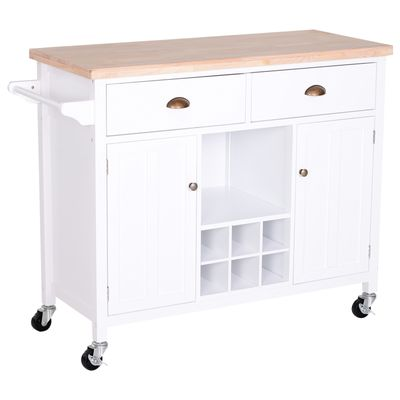 HOMCOM Kitchen Storage Trolley Cart Rolling Island Wood Cabinet w/ Towel Rack White