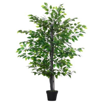 Outsunny 57'' Artificial Banyan Plant Faux Decorative Tree w/ Cement Pot Vibrant Greenery Shrubbery Indoor Outdoor Business Accessory