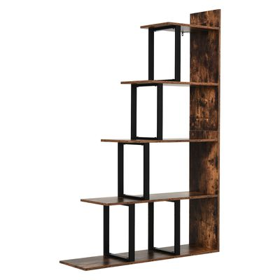 HOMCOM Ladder Shelf 5-Tier Industrial Style Bookshelf Storage Multifunctional Plant Display Corner Ladder Shelf