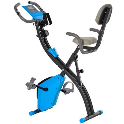 Soozier 2 in 1 Upright  Exercise Bike Stationary Foldable Magnetic Recumbent Cycling with Arm Resistance Bands Blue