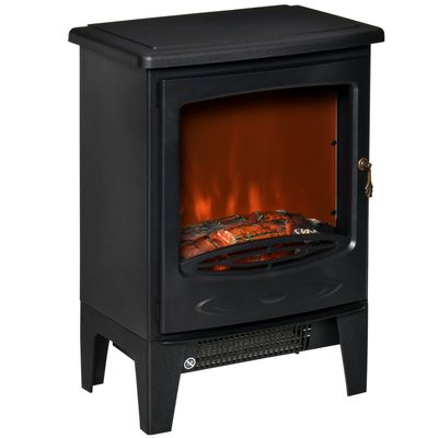 HOMCOM Electric Fireplace Stove, Free standing Fireplace Heater with Realistic Flame Effect, Overheat Safety Protection, 750W/1500W, Black