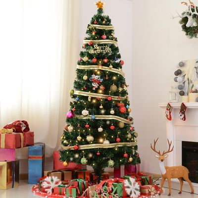 HOMCOM 7 ft Tall Artificial Fiber Optic Pre-Lit Holiday Christmas Tree