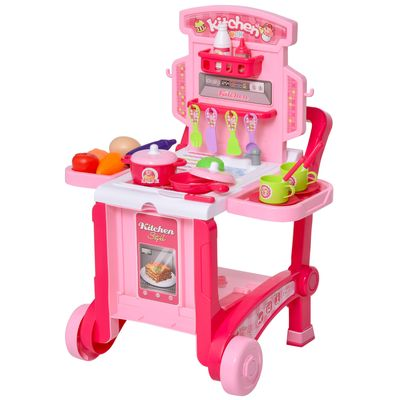Qaba Pretend Play Kitchen Playset Chef Role Play Game 3-in-1 design Suitcase Cart