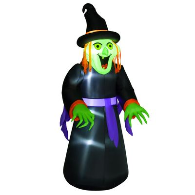 HOMCOM 8.3ft Halloween Inflatable Witch, LED Lighted for Home Indoor Outdoor Garden Lawn Decoration Party Prop, Black