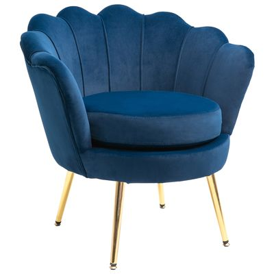 HOMCOM Modern Velvet-Touch Fabric Accent Chair Leisure Club Chair with Gold Metal Legs for Living Room, Blue