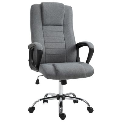 Vinsetto High Back Office Chair 360° Swivel Chair Adjustable Height Tilt Function Linen Deep Grey