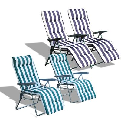 Outsunny Set of 2 Garden Sun Lounger Outdoor Reclining Seat Cushioned Seat Foldable Adjustable Recliner