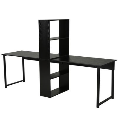 HOMCOM Computer Table  Writing Table Home Office Workstation w/ Bookshelf Black