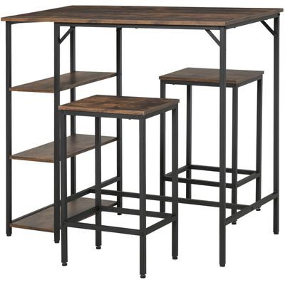 HOMCOM 3 Pieces Industrial Bar Height Dining Table Set with Storage Shelf & 2 Stools