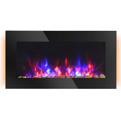 """HOMCOM 36"""" Wall-Mounted Electric Fireplace, 750/1500W Fireplace Heater with Flame Effect, 7 Color Background Light and Side Light, Black"""