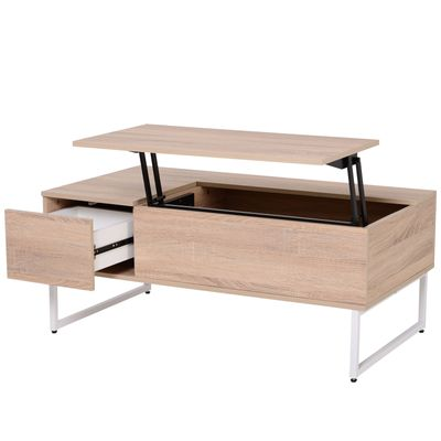 HOMCOM Foldable Wood Lift Top Coffee Table Convertible Furniture with 2 Storage Drawer Tray