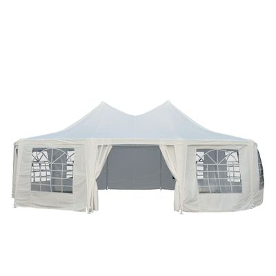 Outsunny 29.2ft High Peak Decagonal Wedding Event Party Tent 10 Removable Walls White