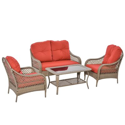 Outsunny 4-Piece Garden Furniture Garden Lawn Pool Backyard Outdoor Sofa Wicker Conversation Set w/ Weather Resistant Cushions and Tempered Glass Tabletop Khaki & Red