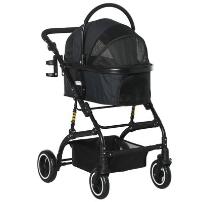 PawHut Detachable Pet Stroller Foldable Cat Dog Travel Carriage 2-In-1 Design Carrying Bag with Universal Wheel Brake Canopy Basket Black