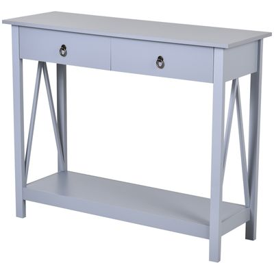 HOMCOM Console Desk Industrial Table W/ Drawer Bottom Shelf Living Room  Entryway Grey