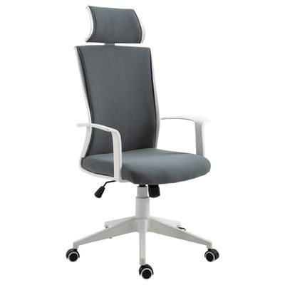 Vinsetto Ergonomic Office Chair 360° Swivel with Headrest Height Adjustable Grey and White